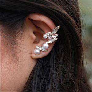 Pearl Stud & Crystal Leaf Ear Cuff